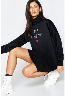 Womens Black Slogan Roll Neck Oversized Sweat Dress