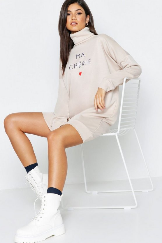 Slogan Roll Neck Oversized Sweat Dress