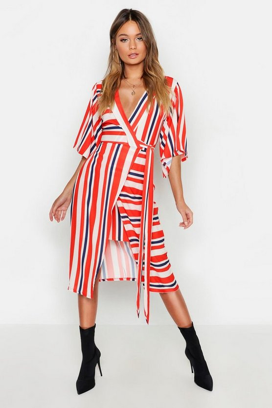 Womens Red Asymetric Hem Striped Midi Dress
