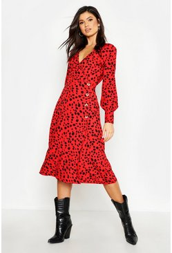 Womens Red Button Front Dalmatian Print Midi Dress