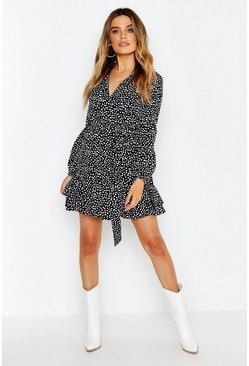 Black Wrap Front Ruffle Hem Tea Dress