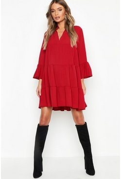Womens Berry Woven Tiered Smock Dress