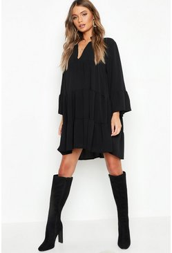 Black Woven Tiered Smock Dress