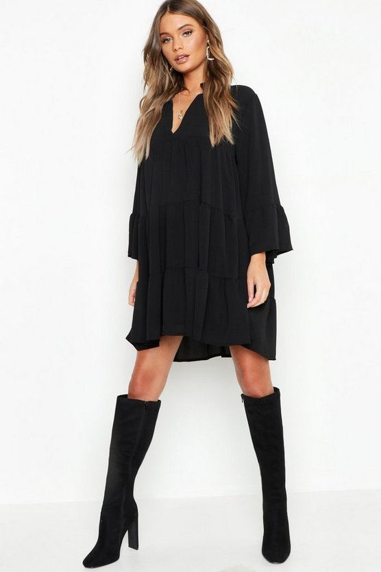 Womens Black Woven Tiered Smock Dress