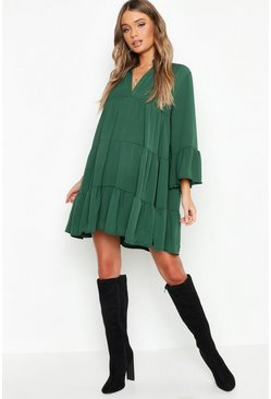 Womens Emerald Woven Tiered Smock Dress