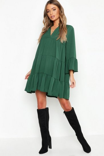 Emerald Woven Tiered Smock Dress