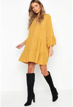 Mustard Woven Tiered Smock Dress