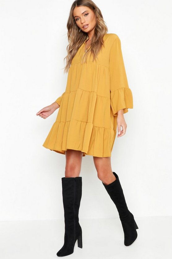 Womens Mustard Woven Tiered Smock Dress