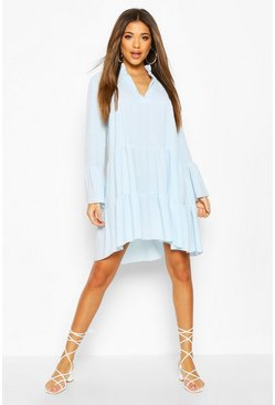 Powder blue Woven Tiered Smock Dress
