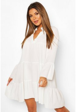 White Woven Tiered Smock Dress