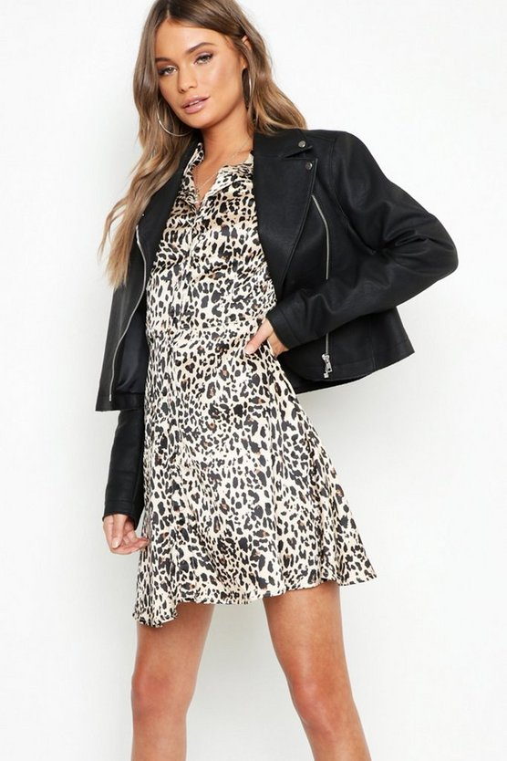 Satin Leopard Shirt Dress