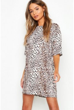 Womens Brown Leopard Print Oversized T-Shirt Dress