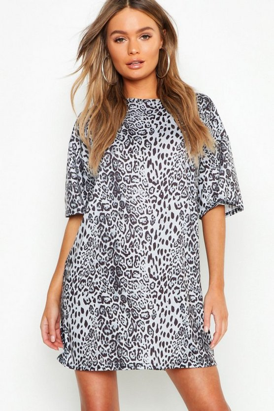 Womens Grey Leopard Print Oversized T-Shirt Dress