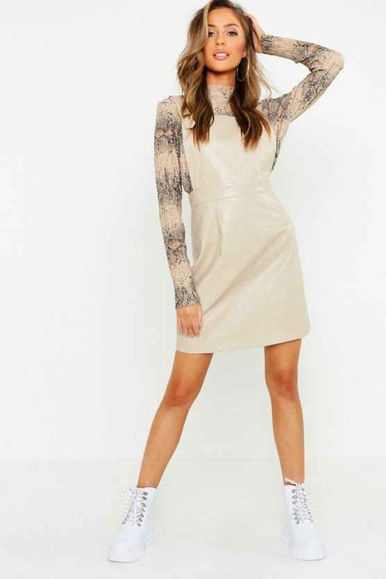 Ecru Faux Leather Snake Embossed Pinafore Dress