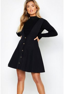 Womens Black Plunge Front Button Skater Dress