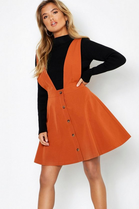 Plunge Front Button Skater Dress