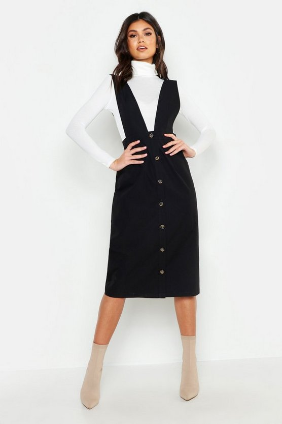 Plunge Front Button Midi Dress