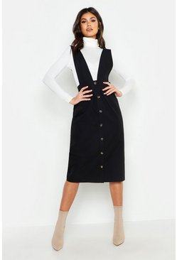 Womens Black Plunge Front Button Midi Pinafore Dress
