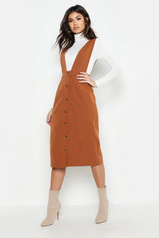 Plunge Front Button Midi Pinafore Dress