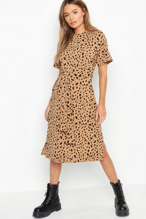 Womens Camel Tie Waist Dalmatian Print Shift Dress