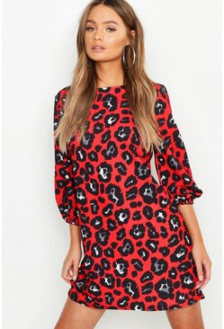 Womens Red Leopard Print High Neck Blouson Sleeve Shift Dress