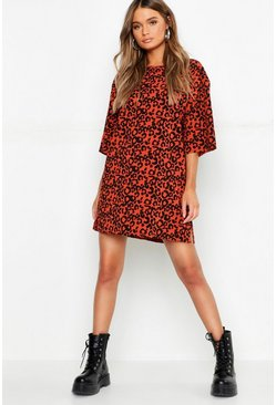 Womens Terracotta Oversized Leopard Ribbed Shift Dress