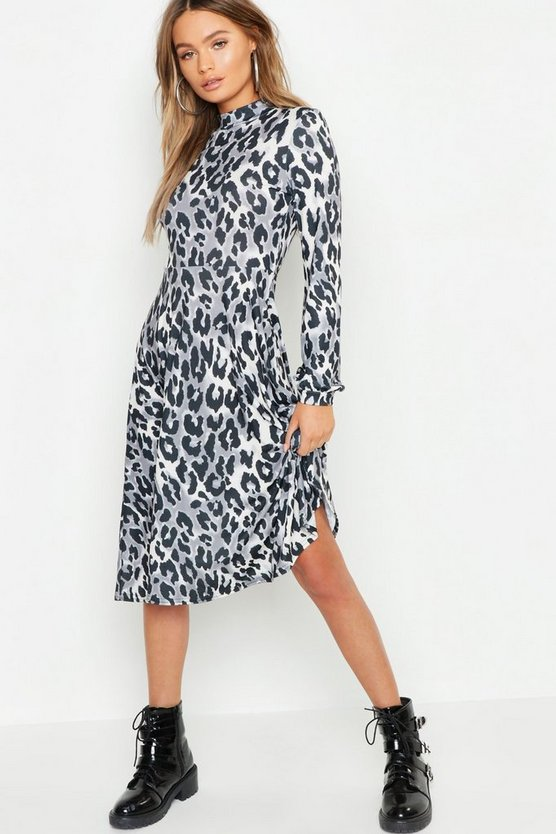 High Neck Leopard Print Midi Dress
