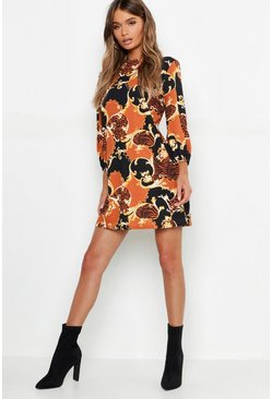 Womens Brown Tiger Chain Printed High Neck Blouson Shift Dress