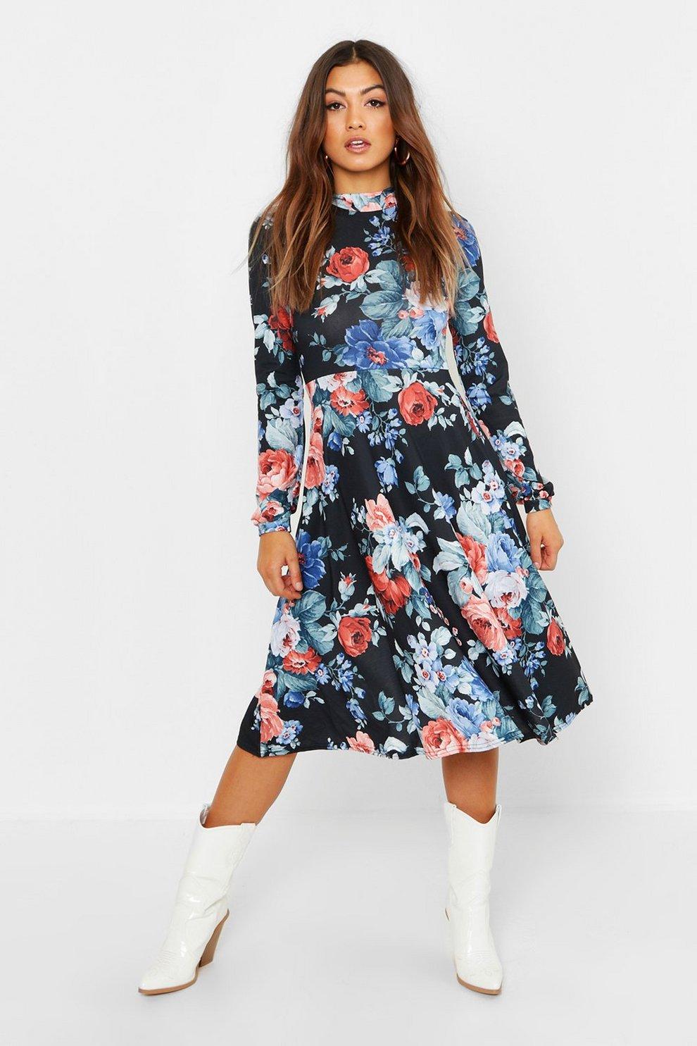 d83dfb20dc89 High Neck Floral Midi Dress | Boohoo