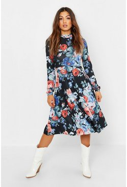 Womens Black High Neck Floral Midi Dress