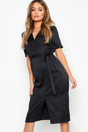 Womens Black Satin Tie Waist Midi Shirt Dress