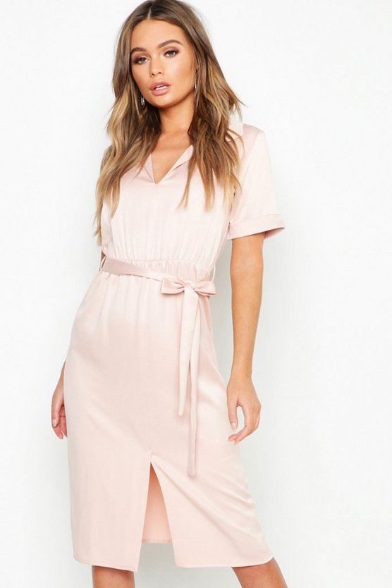 Satin Tie Waist Midi Shirt Dress