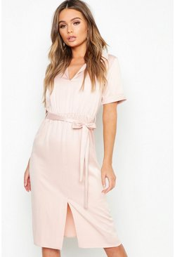 Womens Blush Satin Tie Waist Midi Shirt Dress