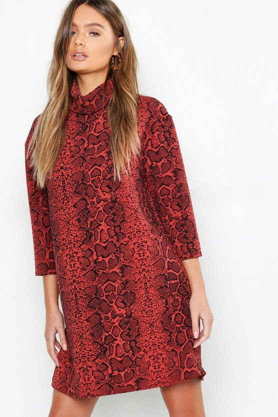 Terracotta Roll Neck Oversized Snake Print Shift Dress