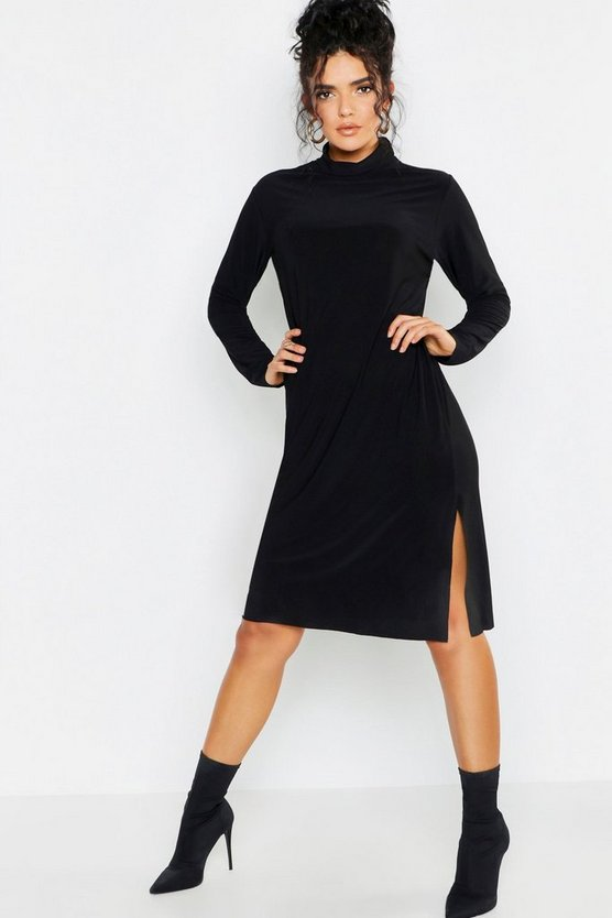 Womens Black Roll Neck Slouchy Oversized Midi Dress