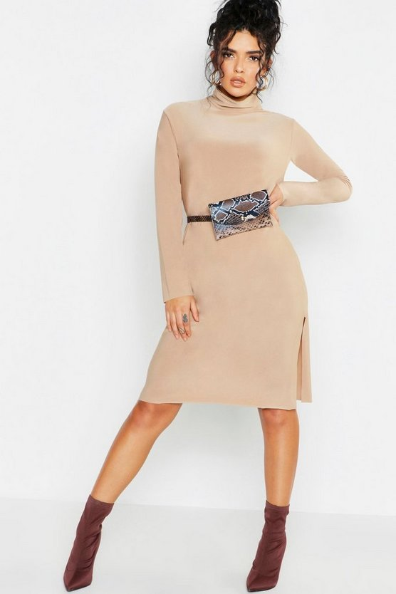 Womens Camel Roll Neck Slouchy Oversized Midi Dress