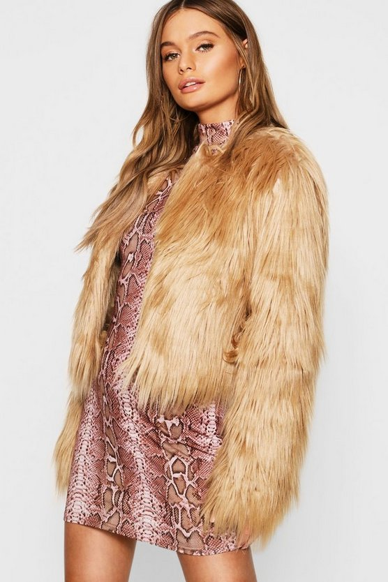 Womens Sand Crop Shaggy Faux Fur Coat