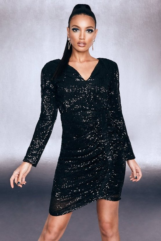 Black Premium Sequin Ruched Side Bodycon Dress