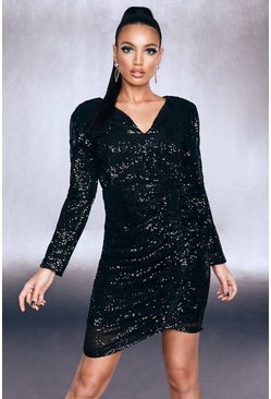 Womens Black Premium Sequin Ruched Side Bodycon Dress