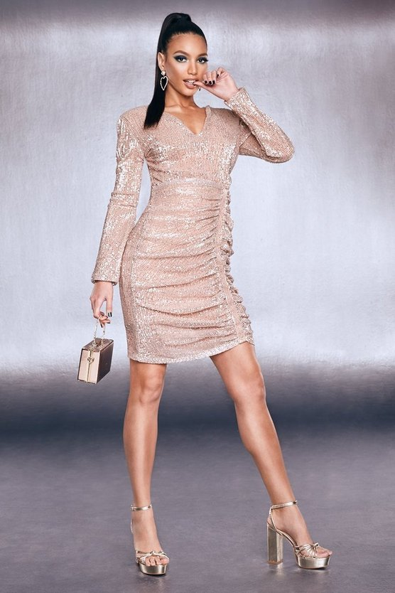 Womens Rose gold Premium Sequin Ruched Side Bodycon Dress