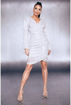 Womens Silver Premium Sequin Ruched Side Bodycon Dress