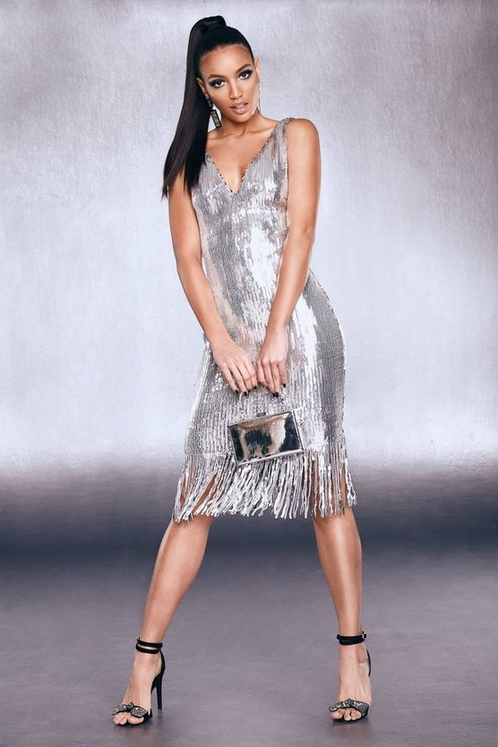 Womens Silver Premium Sequin Fringed Hem Dress