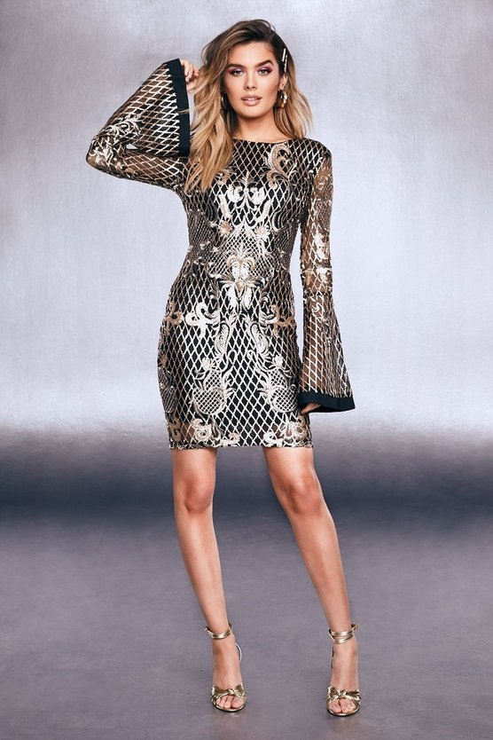 Womens Gold Sequin Embroidered Flare Sleeve Dress