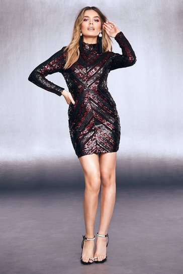 Womens Wine High Neck Sequin Bodycon Dress
