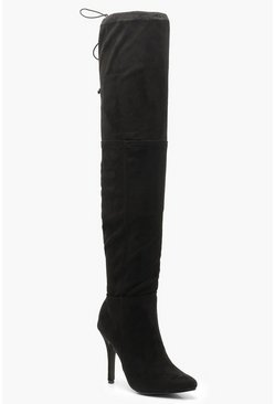 Womens Black Stiletto Heel Over The Knee Boots