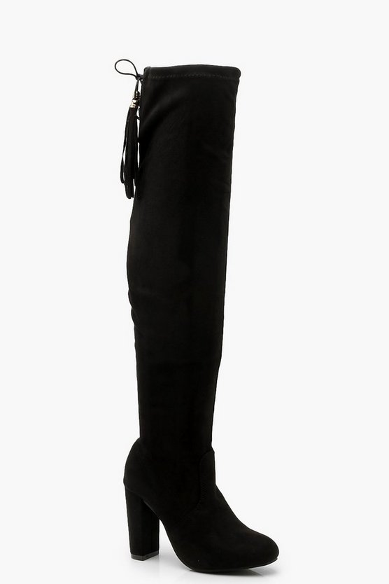 Womens Black Tassel Detail Heeled Over The Knee Boots