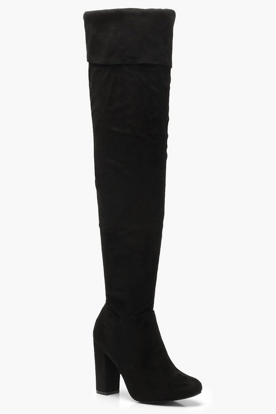 Turnover Block Heel Over The Knee Boots