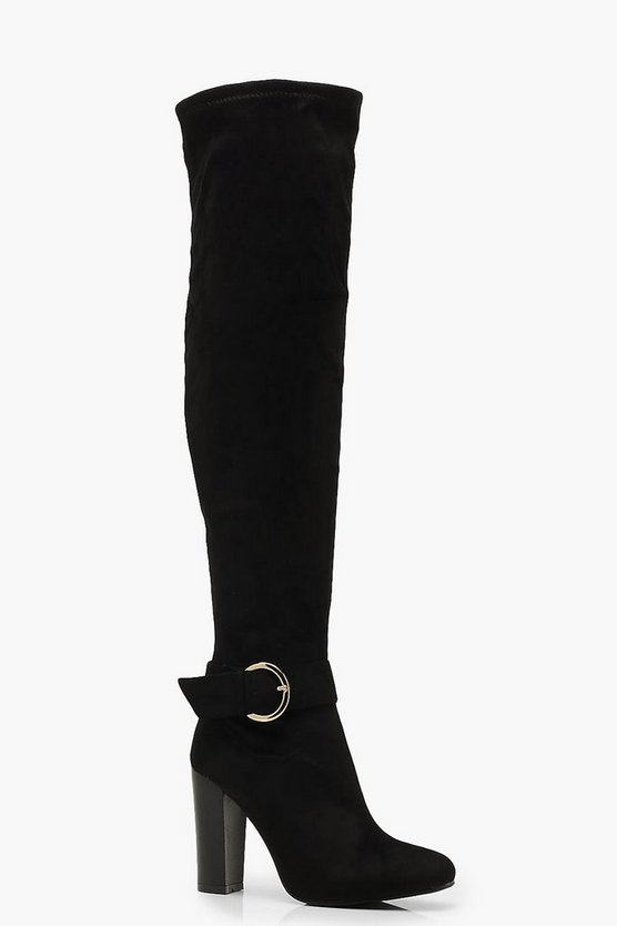 Womens Black D Ring Block Heel Over The Knee Boots