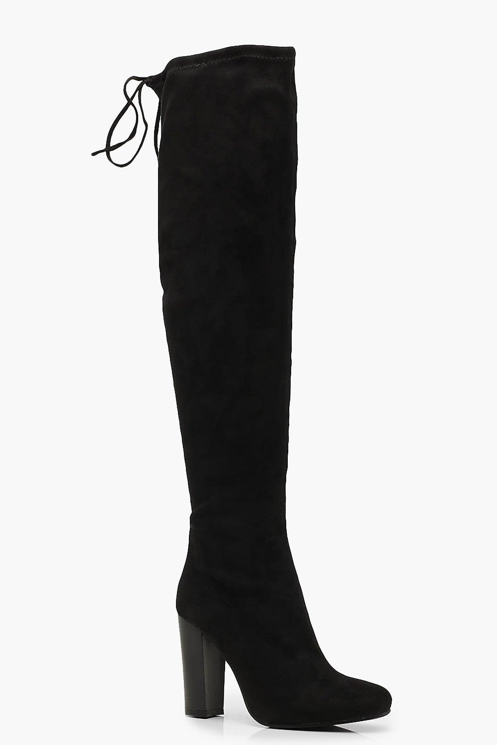 Tie Back Block Heel Over the Knee Boots