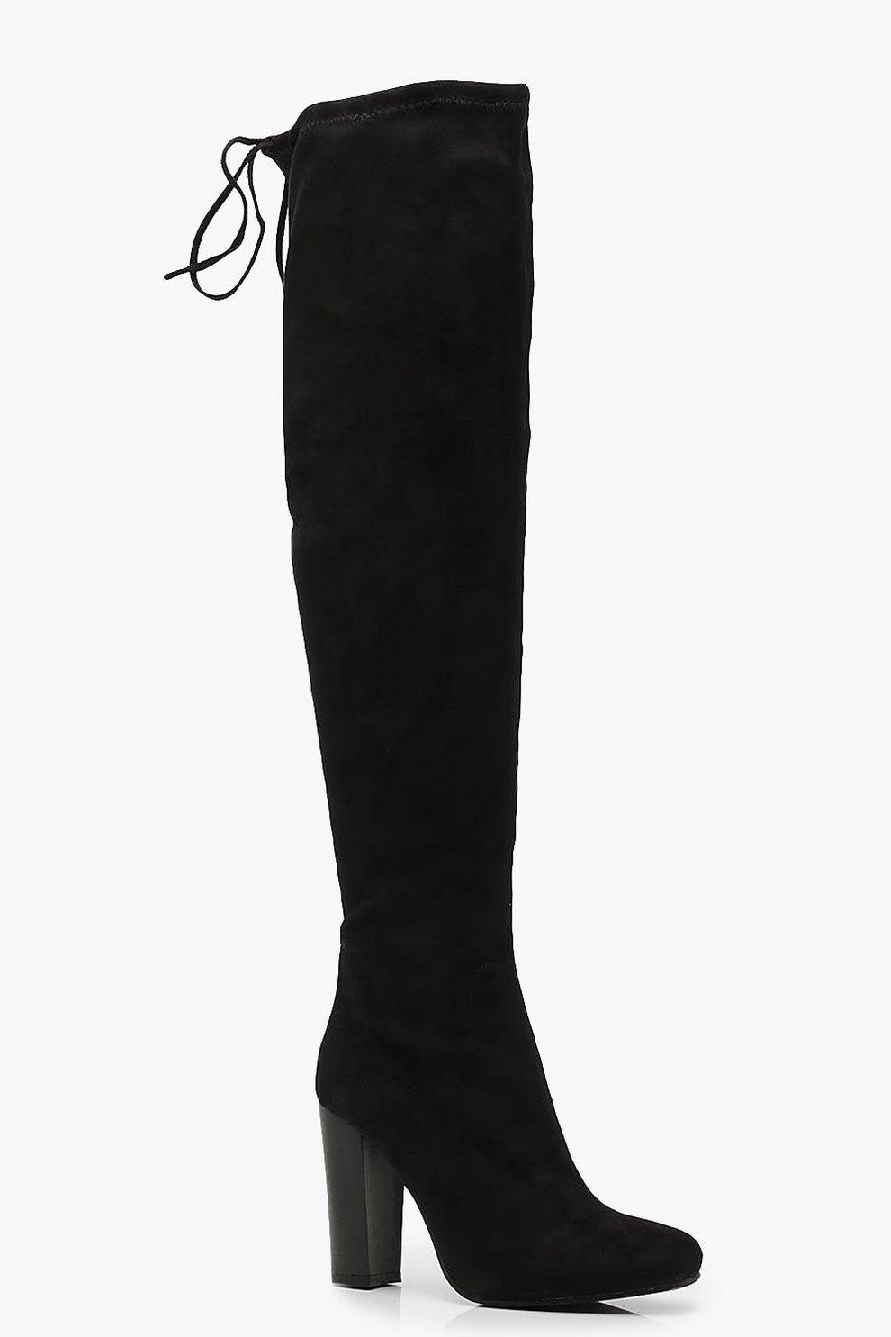 e15fce98363e Tie Back Block Heel Over the Knee Boots
